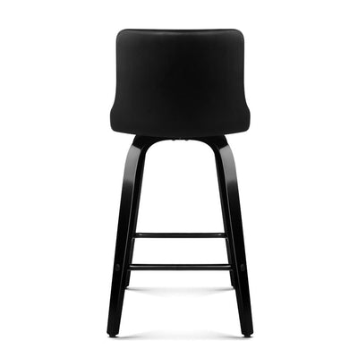 Artiss Set of 2 Walnut Wooden Bar Stool - Black and Walnut | 360HomeWare