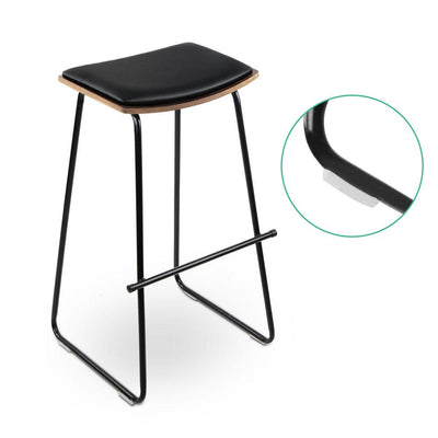 Artiss Set of 2 PU Leather Backless Bar Stools - Black | 360HomeWare