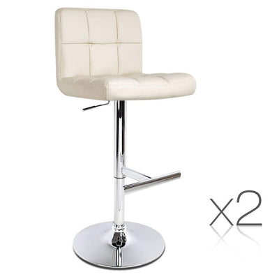 Artiss Set of 2 PU Leather Bar Stools with Back Support- Beige | 360HomeWare