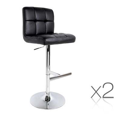 Artiss Set of 2 PU Leather Bar Stools with Back Support - Black | 360HomeWare
