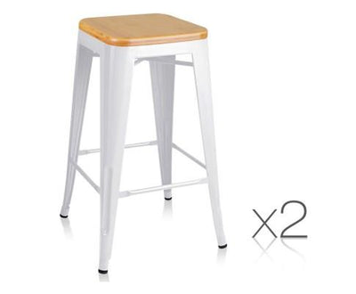 Set of 2 Metal and Bamboo Bar Stools - White | 360HomeWare