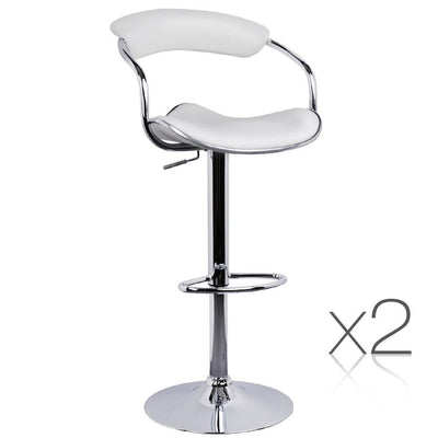 Artiss Set of 2 PU Leather Bar Stools - White | 360HomeWare