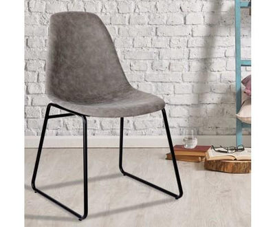 Set of 2 PU Leather Dining Chairs - Grey | 360HomeWare