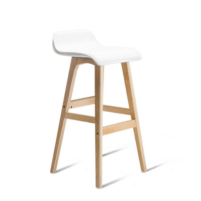 Artiss Set of 2 PU Leather and Wood Bar Stool - White | 360HomeWare