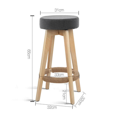 Artiss Set of 2 Linen Fabric Round Bar Stool - Grey | 360HomeWare