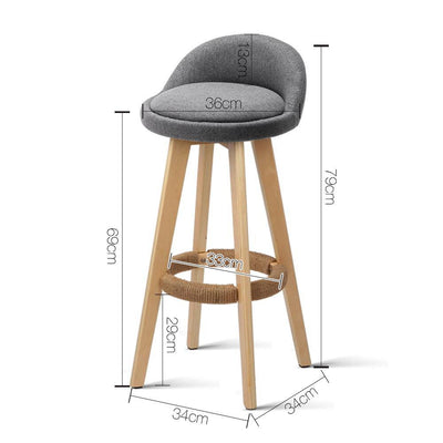 Artiss Set of 2 Fabric Bar Stools-Grey | 360HomeWare