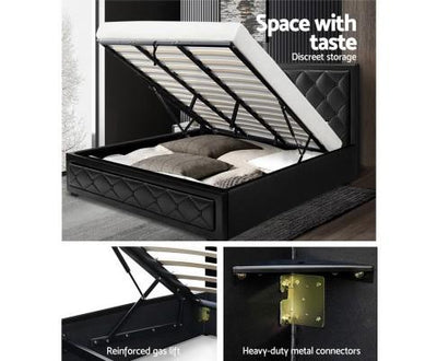 Tino Gas Lift Bed Frame - Black | 360HomeWare