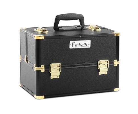 Portable Cosmetic Beauty Makeup Case - Black & Gold | 360HomeWare