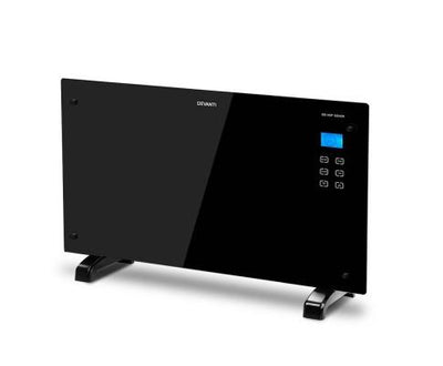 2000W Portable Electric Panel Heater - Black Glass | 360HomeWare