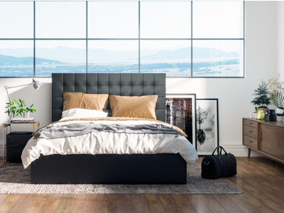 Charlotte Leather PU Gas Lift Leather Bed Frame - Black | 360HomeWare