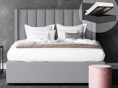 Cher Fabric Bed Frame  - Grey | 360HomeWare
