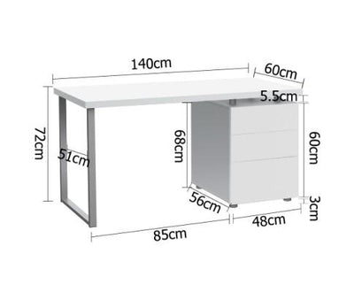Computer Desk with 3 Drawer Cabinet (White) | 360HomeWare