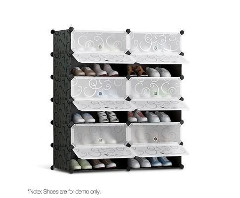 12 Cube Stackable Shoe Rack Storage Cabinet - Black & White | 360HomeWare