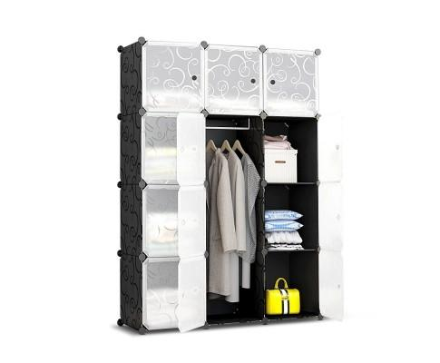 12 Cube Portable Storage Cabinet Wardrobe - Black | 360HomeWare