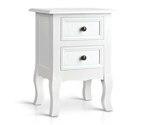 Artiss Vintage Style Bedside Side Table with 2 Drawers - White | 360HomeWare