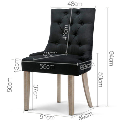 Artiss French Provincial CAYES Dining Chair Black | 360HomeWare