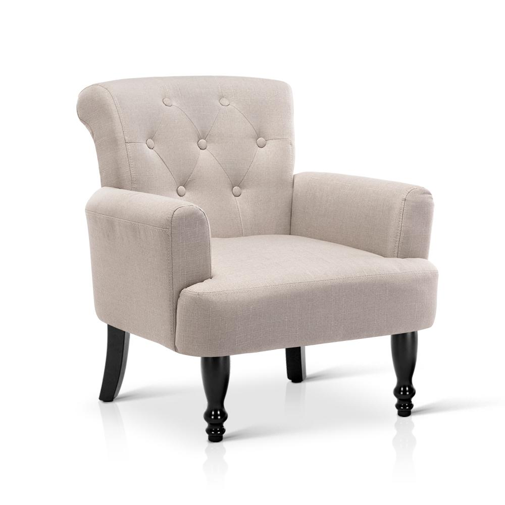 Artiss French Lorraine Chair Retro Wing - Taupe | 360HomeWare