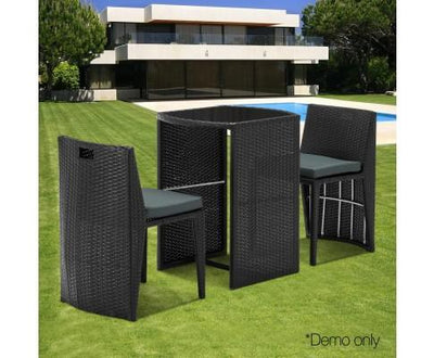 3 Piece PE Wicker Outdoor Table and Chair Set - Black | 360HomeWare