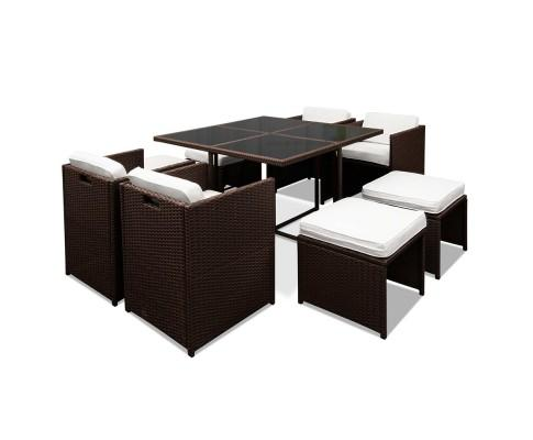 9 Piece Wicker Outdoor Dining Set - Brown & White | 360HomeWare