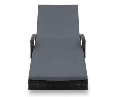 Outdoor Sun Lounge Chair with Cushion - Black | 360HomeWare