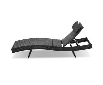 Outdoor Wicker Sun Lounge - Black | 360HomeWare