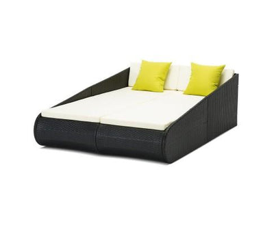 2 Seat PE Wicker Sun Lounge Daybed - Black | 360HomeWare