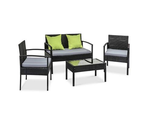 4 Piece Outdoor Wicker Furniture Set - Black | 360HomeWare