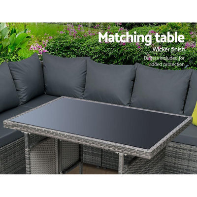 Outdoor Furniture Patio Set Dining Sofa Table Chair Lounge Garden Wicker Grey | 360HomeWare