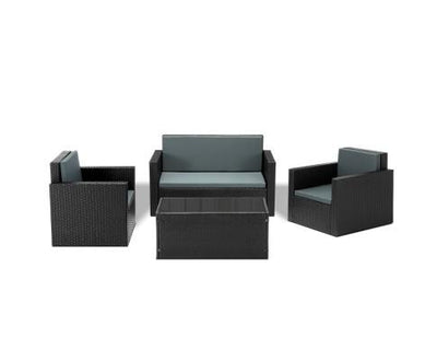 4 Piece Outdoor Wicker Furniture Set With Gray Cushions - Black | 360HomeWare
