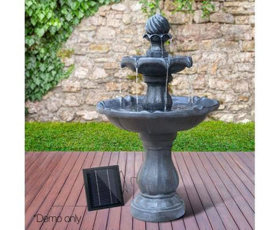 3 Tier Solar Powered Water Fountain - Black | 360HomeWare
