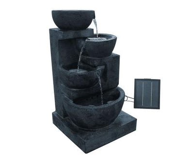 4 Tier Solar Powered Water Fountain with Light - Blue | 360HomeWare