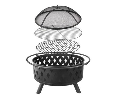 32 Inch Portable Outdoor Fire Pit and BBQ - Black | 360HomeWare
