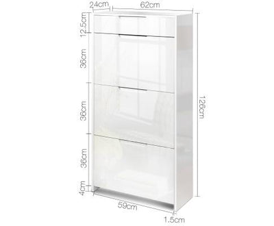 24 Pair High Gloss Wooden Shoe Cabinet - White | 360HomeWare