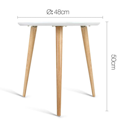 Artiss Round Side Table - White | 360HomeWare