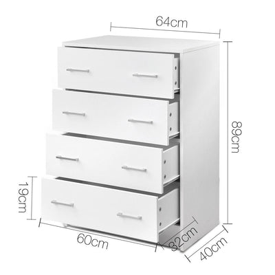Artiss Tallboy 4 Drawers Storage Cabinet - White | 360HomeWare