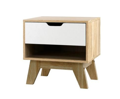 Bedside Table Drawer Nightstand Shelf Cabinet Storage Lamp Side Wooden | 360HomeWare
