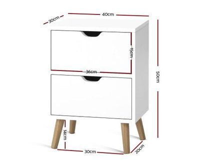 Artiss Scandinavian Bedside Tables Drawers - White | 360HomeWare