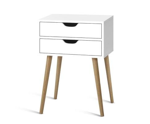 Artiss Storage Bedside Table - White | 360HomeWare