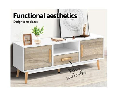 Artiss Wooden Entertainment Unit - White & Wood | 360HomeWare