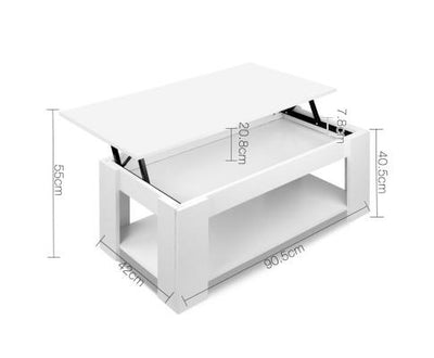 Lift Up Top Mechanical Coffee Table (White) | 360HomeWare