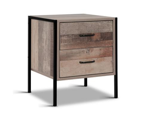 Artiss Bedside Table Metal Oak | 360HomeWare