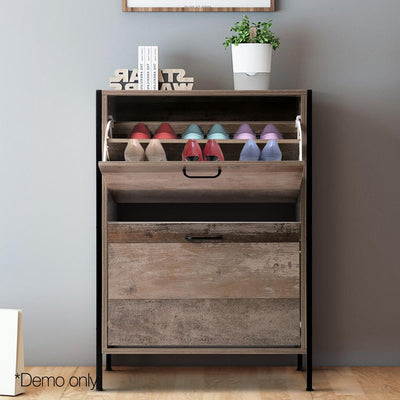 Artiss 12 Pair Wooden Vintage Shoe Rack Storage Cabinet - Wood | 360HomeWare