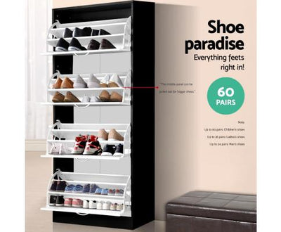 Artiss Shoe Cabinet for 60 pairs - Black and White | 360HomeWare
