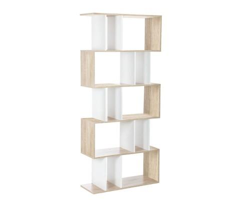 5 Tier Display Book Storage Shelf Unit - White Brown | 360HomeWare