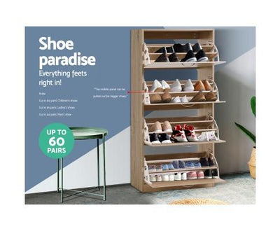Wooden Shoe Cabinet for 60 pairs - brown | 360HomeWare