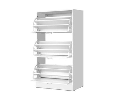 3 Tier Shoe Cabinet - White | 360HomeWare