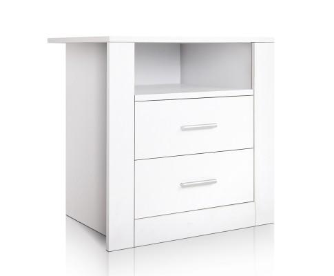 Anti-Scratch Bedside Table 2 Drawers - White | 360HomeWare