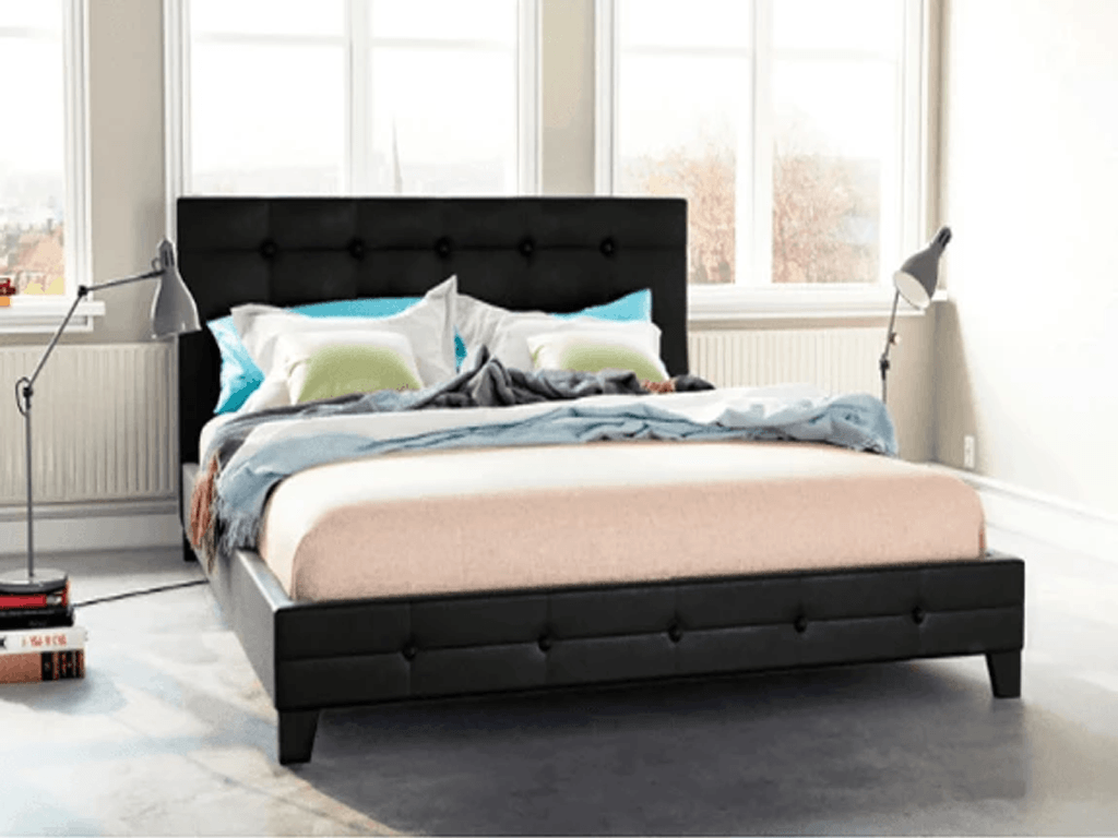 Grande PU Leather Bed Frame - Black | 360HomeWare