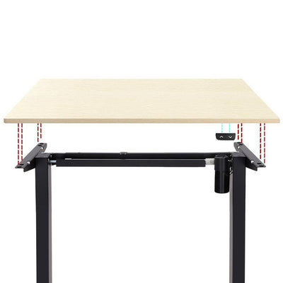 Electric Motorised Height Adjustable Standing Desk - Black Frame with 100cm Natural Oak Top | 360HomeWare