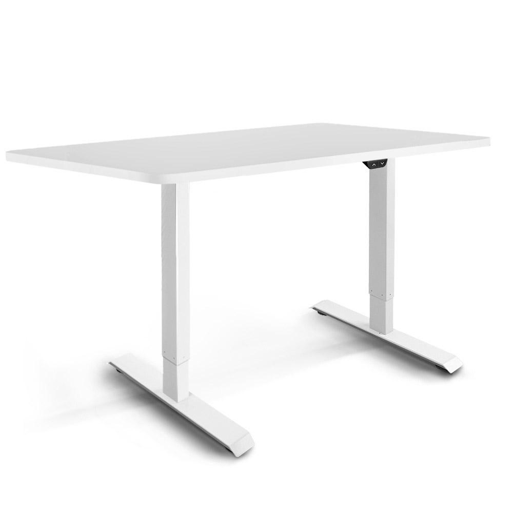 Electric Motorised Height Adjustable Standing Desk - White Frame with 140cm White Top | 360HomeWare
